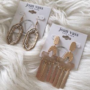 B2G1 2 NWT Joan Vass Hammered Metal Earrings